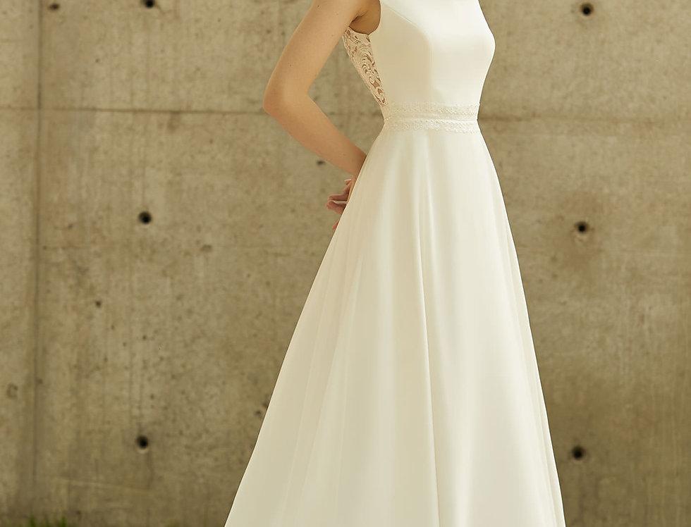 Robe de Mariée trapèze en dentelle et mousseline - Bride Now BN011