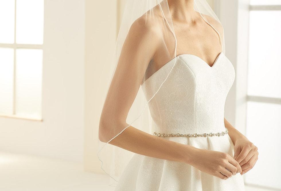 Voile Mariée 80 cm perles de verre Bianco Evento - S309