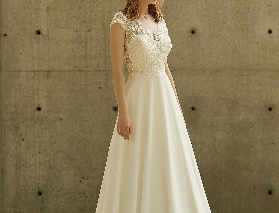 Robe de Mariée trapèze en dentelle et mousseline - Bride Now BN008