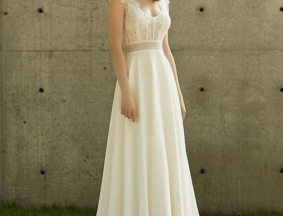 Robe de Mariée trapèze en dentelle et Mousseline - Bride Now BN002