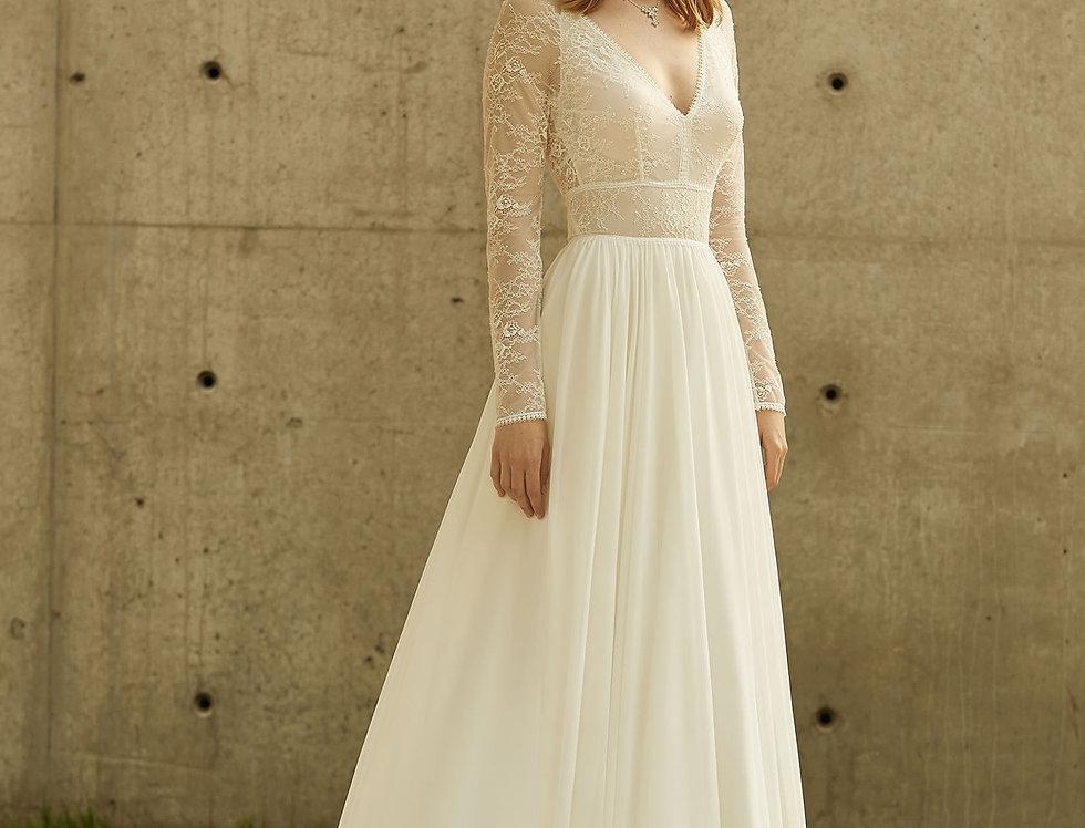 Robe de Mariée trapèze en dentelle et mousseline - Bride Now BN009