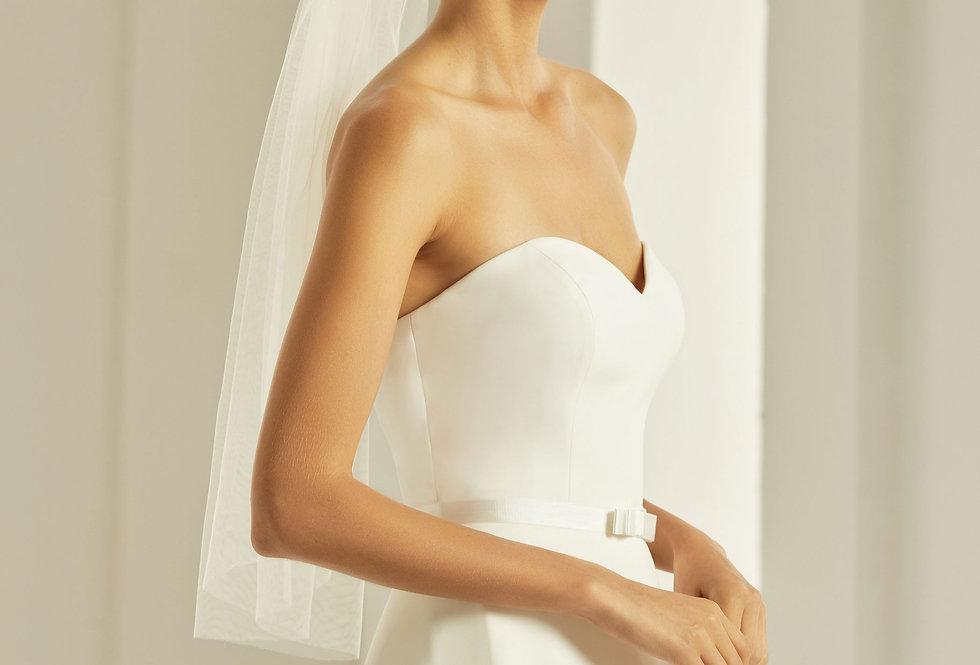 Voile Mariée 70 cm tulle simple Bianco Evento - S302