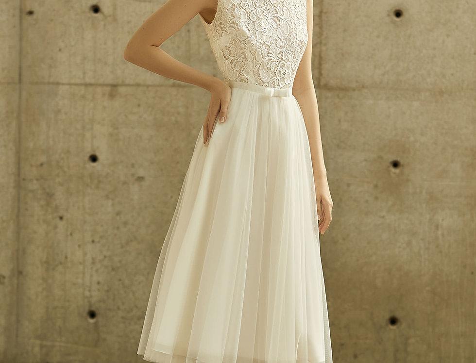 Robe de Mariée courte en dentelle et tulle- Bride Now BN003