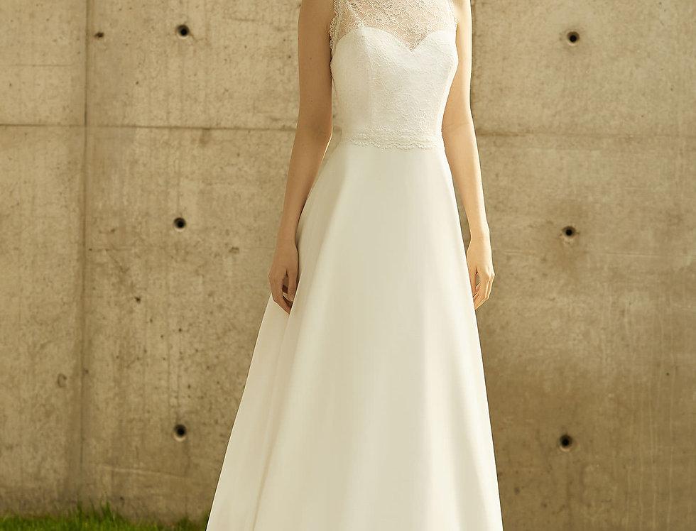 Robe de Mariée trapèze en dentelle et mousseline - Bride Now BN007