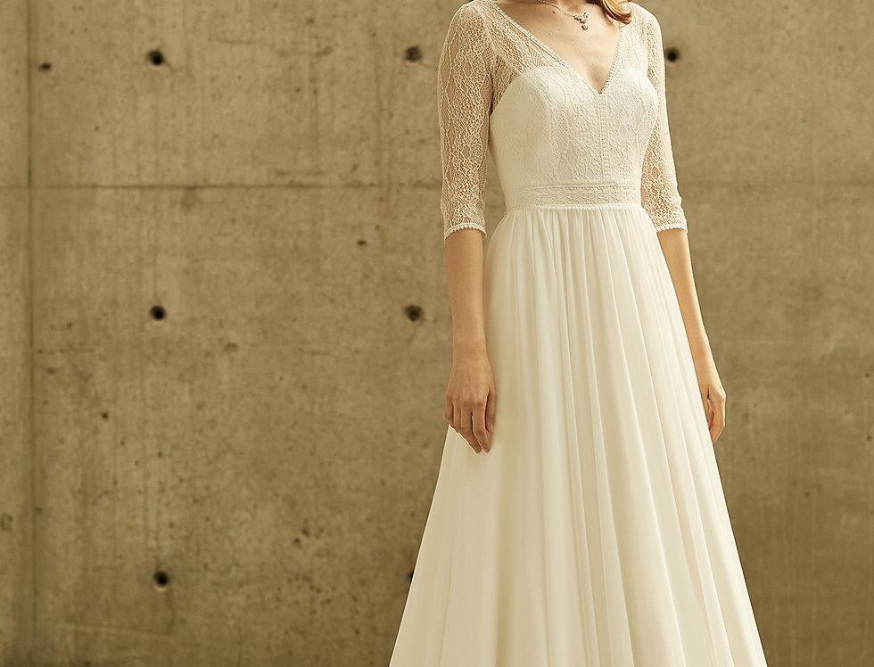 Robe de Mariée trapèze en dentelle et mousseline - Bride Now BN010