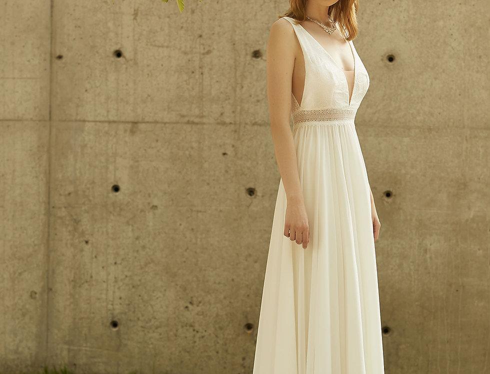 Robe de Mariée trapèze en dentelle et mousseline - Bride Now BN014