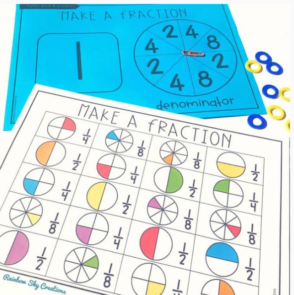 Fraction spinner game (halves, quarters and eighths)