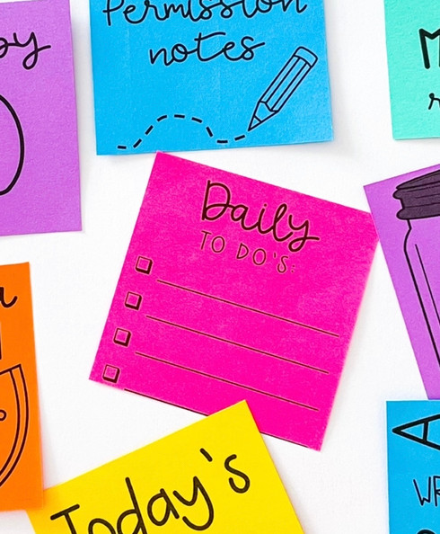 Sticky notes that have been printed on to make a mini to-do list