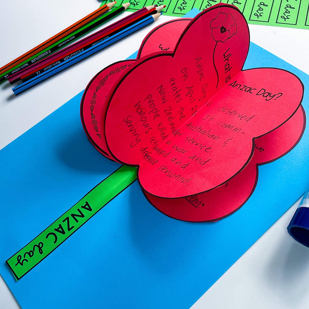 Red poppy templates glued onto bright blue background with a green stem