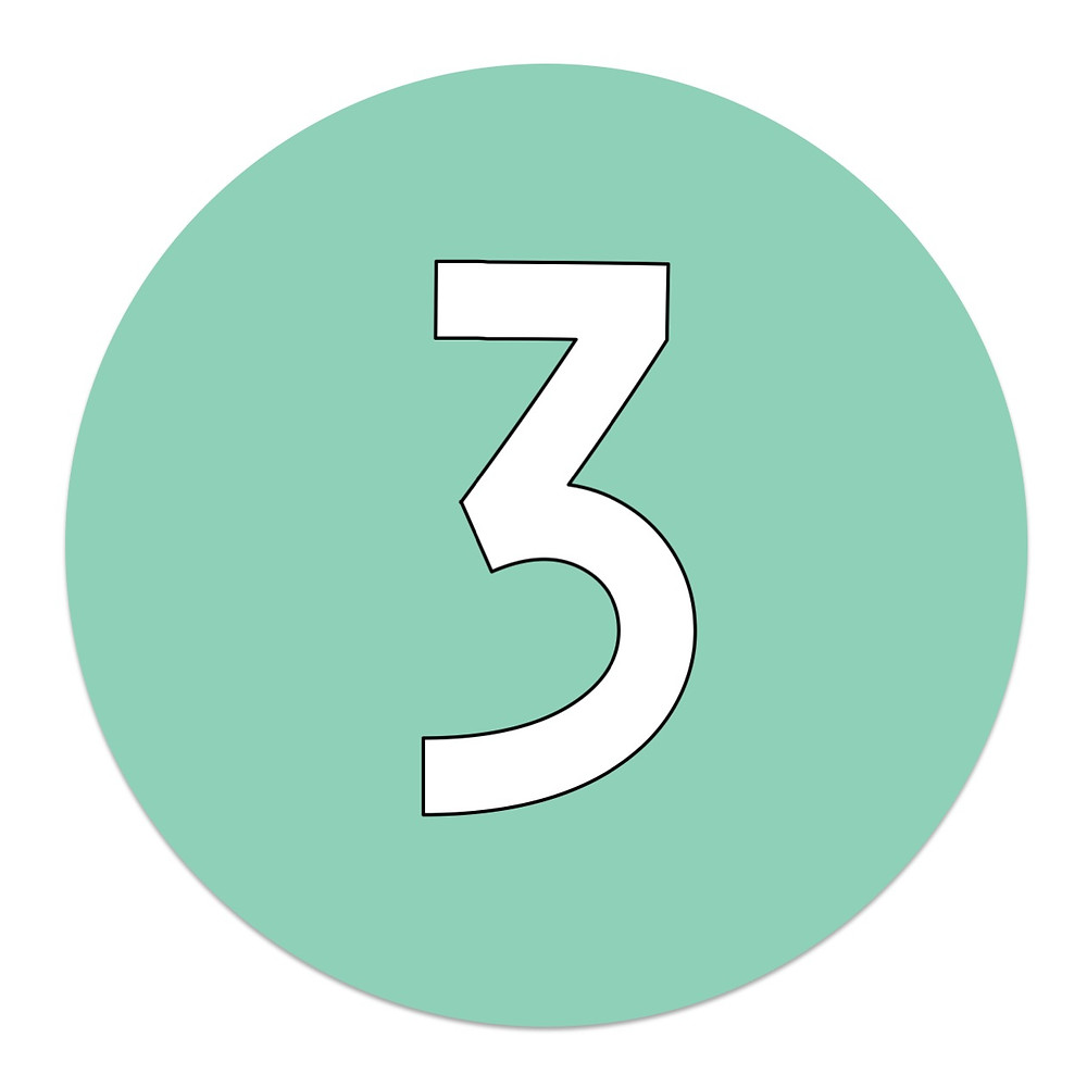 Green circle with number 3