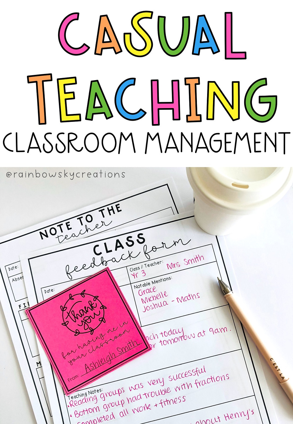 Classroom management when substitute teaching - Rainbow Sky Creations