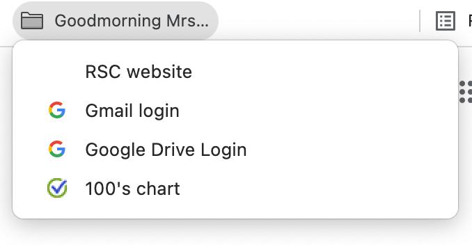 Example of a teacher bookmark folder