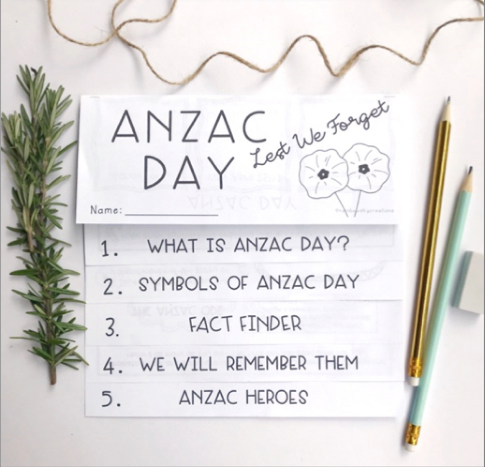 Anzac day flipbook (mini research task) with pencils and rosemary