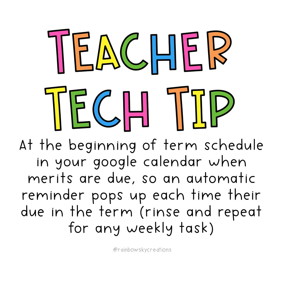 Colourful words with teacher tip about saving weekly teacher tasks in your google calendar