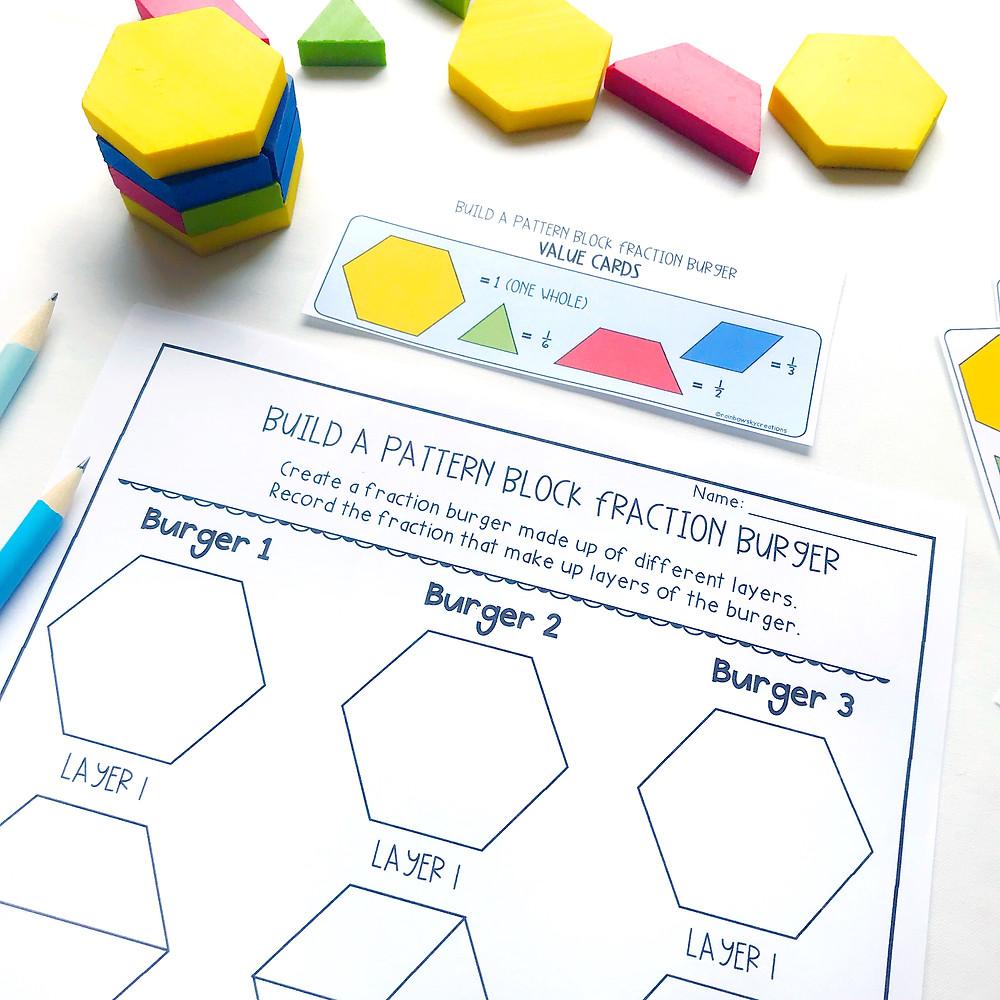 build-a-pattern-block-fraction-burger-hands-on-maths