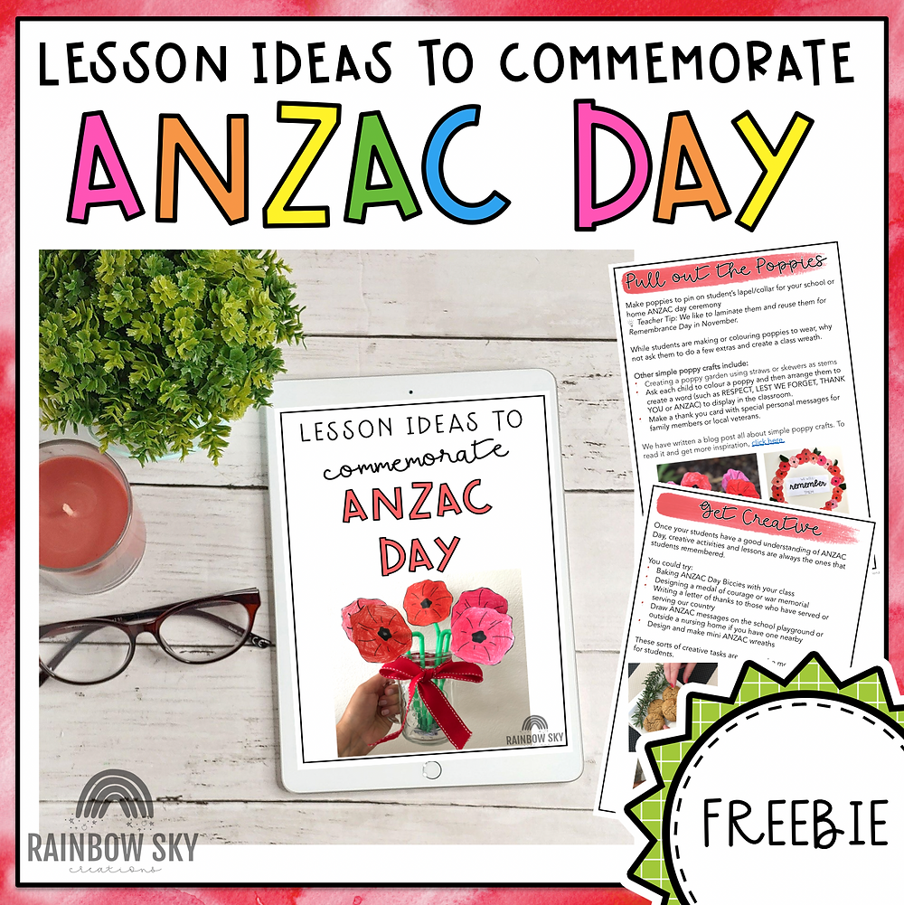 ANZAC Day free eBook TpT cover page