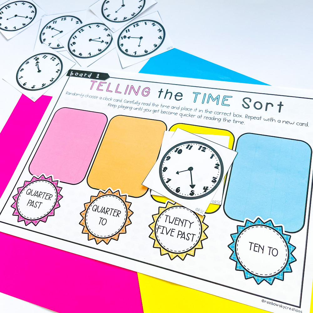 Telling the time sorting activity