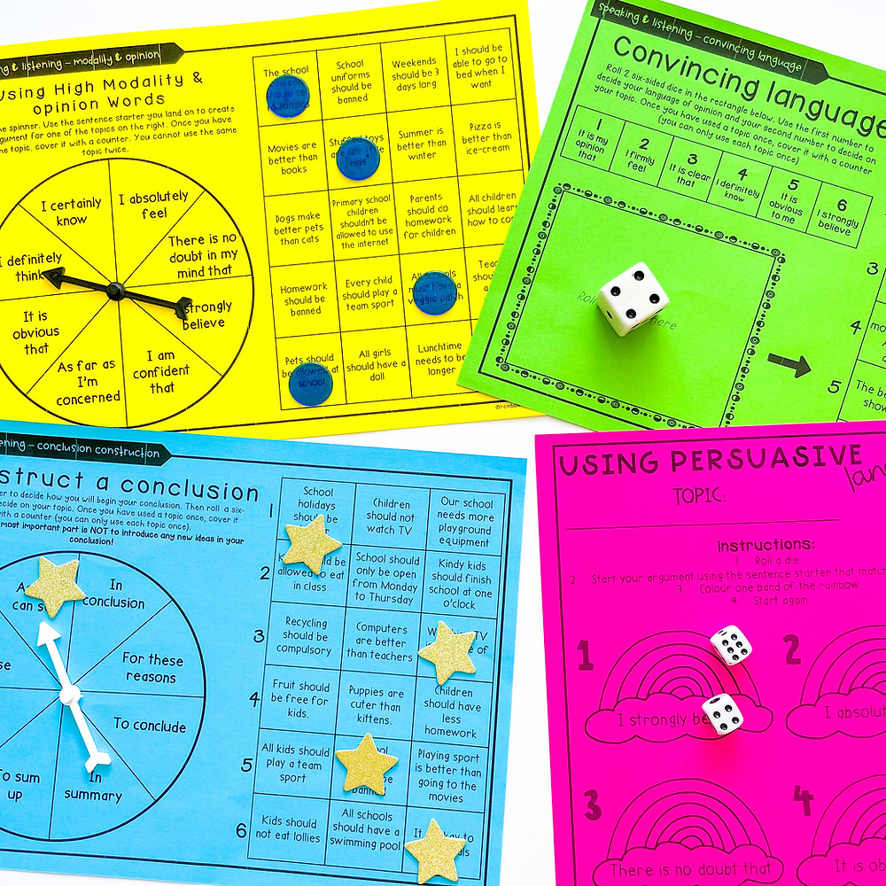 Persuasive writing spinner and dice games on coloured paper