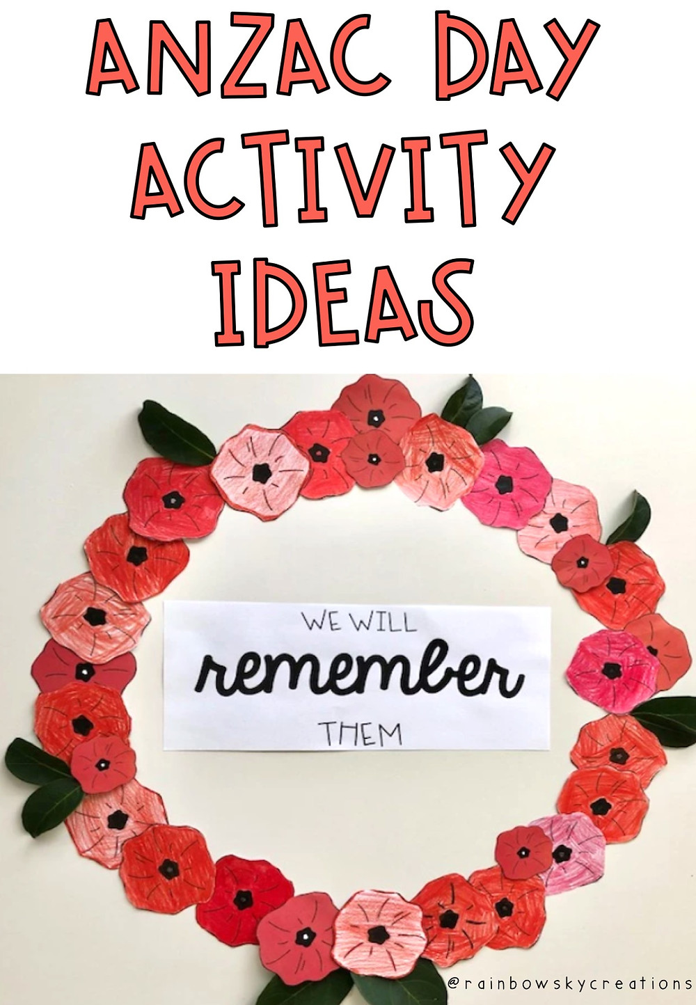 Anzac day activity ideas in red and an anzac wreath photograph
