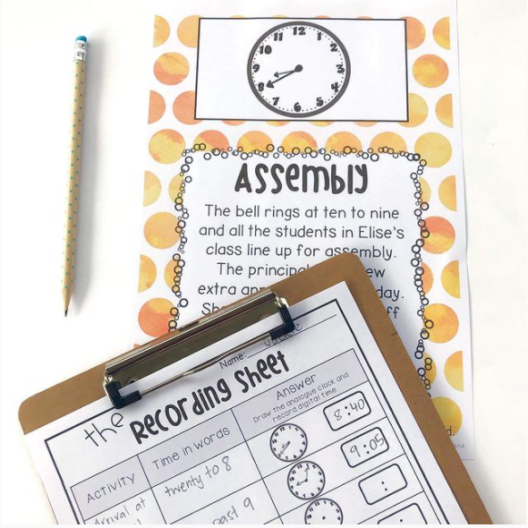 Time investigation activity with clipboard and pencil