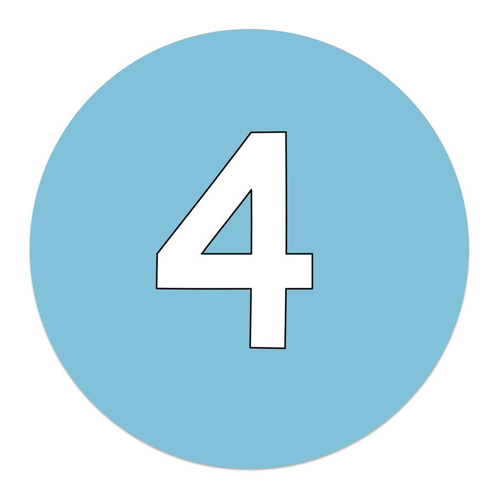 Blue circle with number 4
