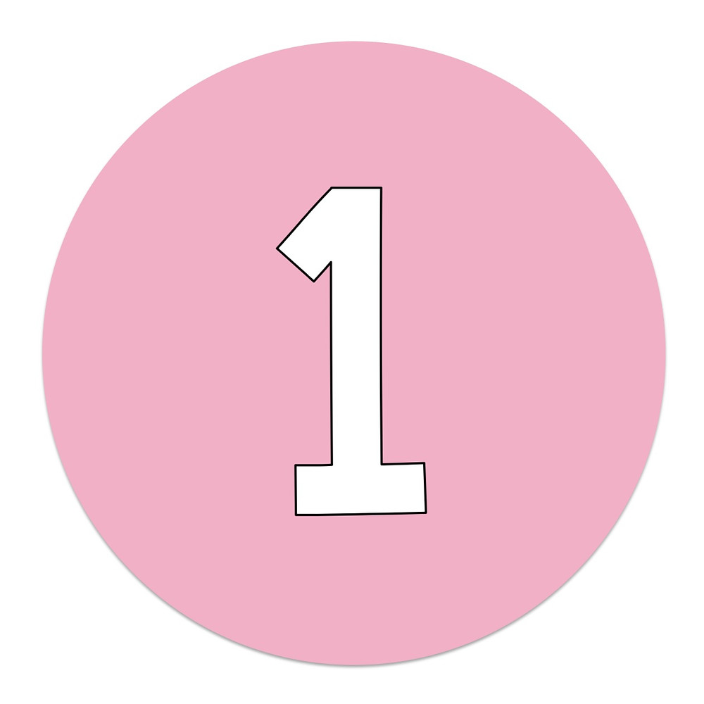Pink circle with number 1