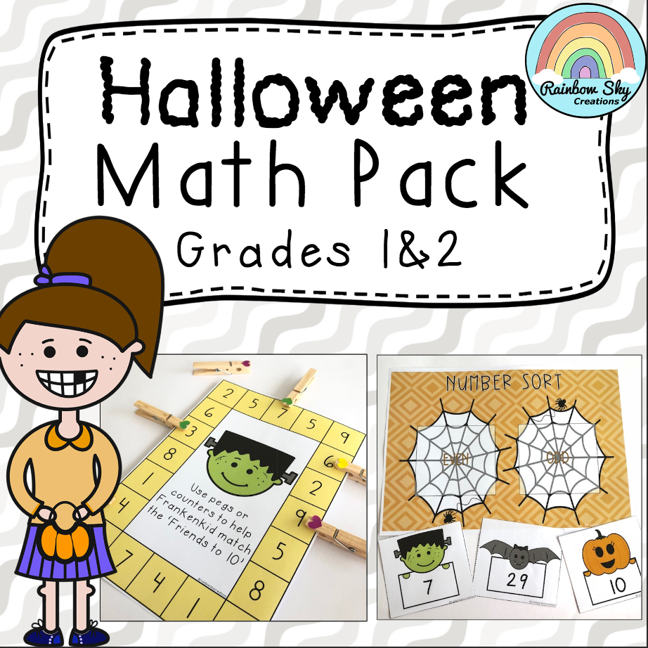 https://www.teacherspayteachers.com/Product/Halloween-Math-Center-Pack-1st-Grade-and-2nd-Grade-4092373