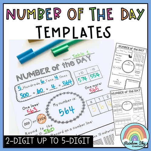 Number of the Day Templates: Number Sense to 6 digit