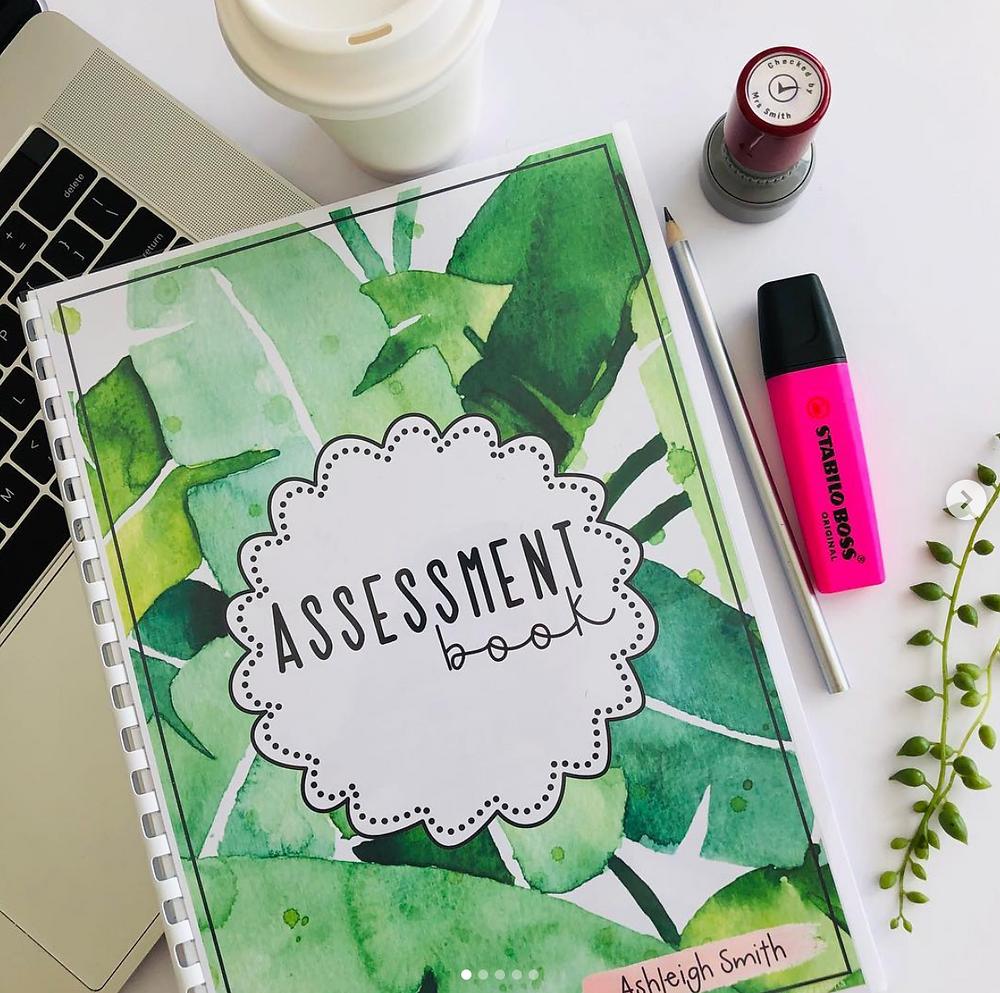 Teacher Assessment book in green