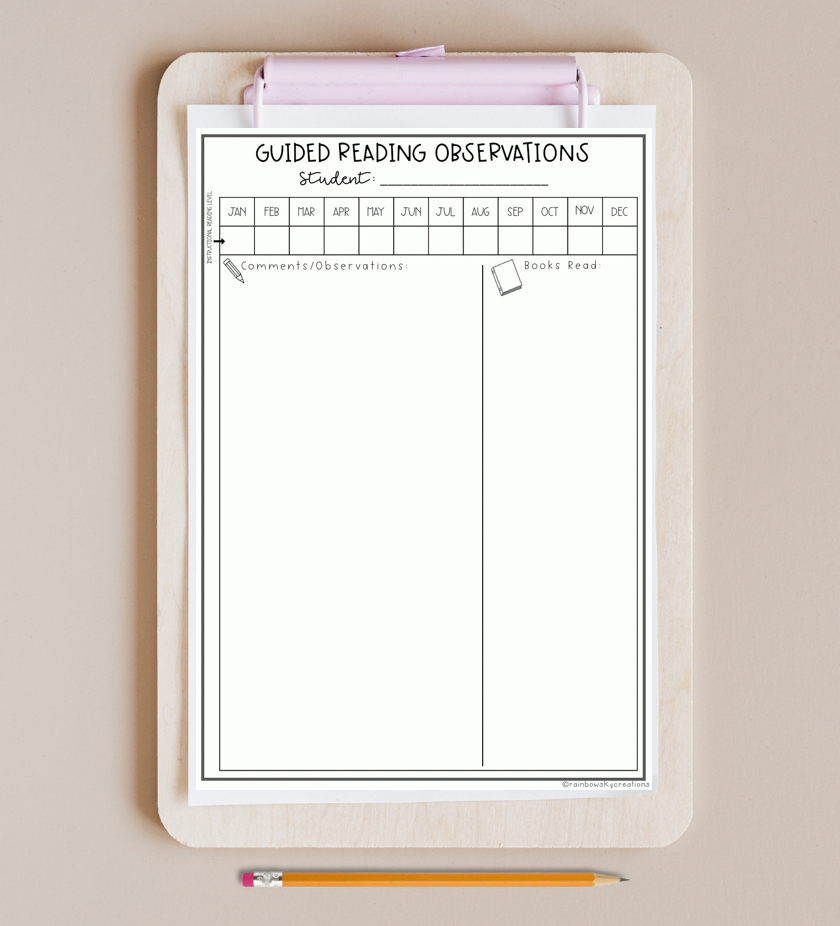 Guided reading observation template on clipboard