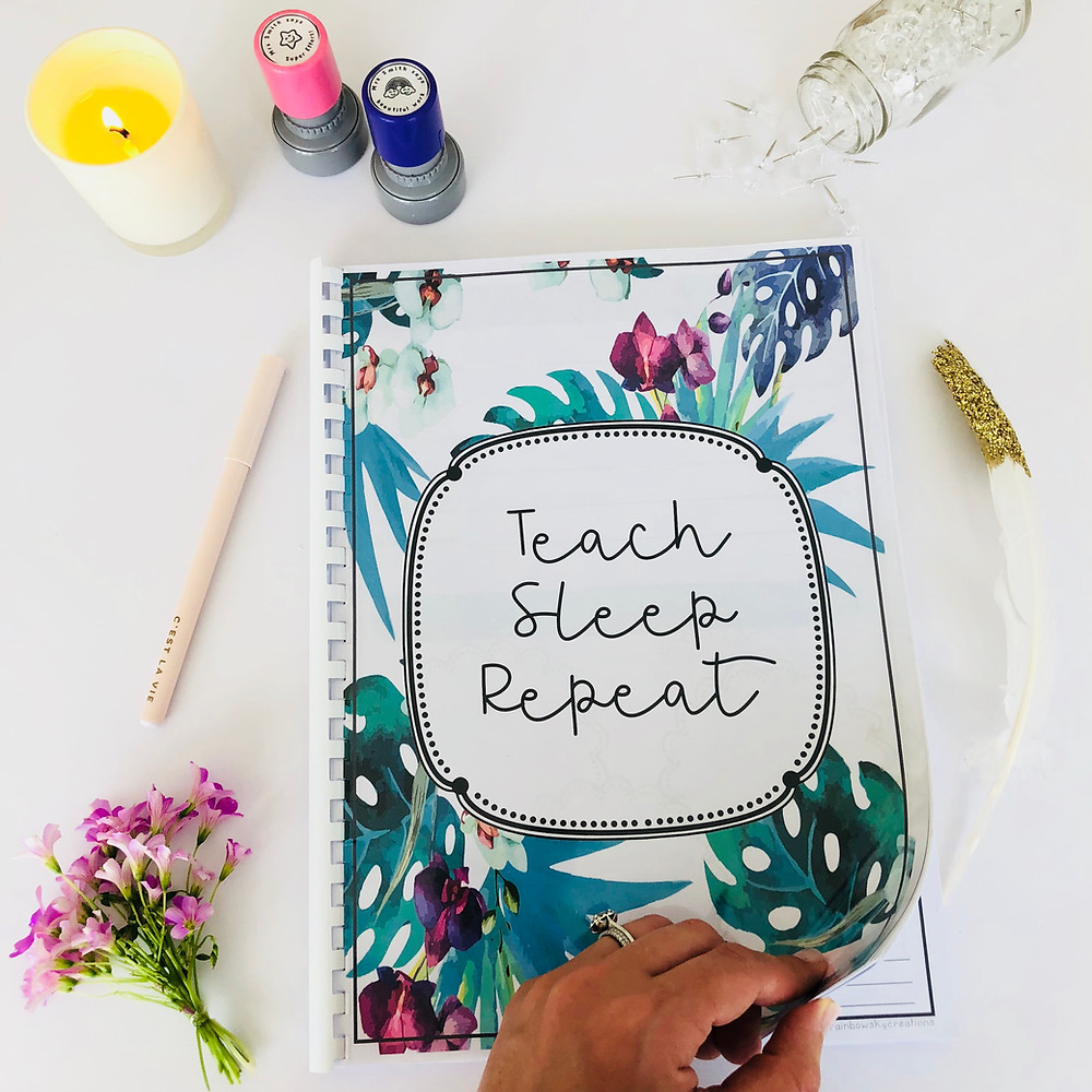 Floral teacher planner with stamps and stationery
