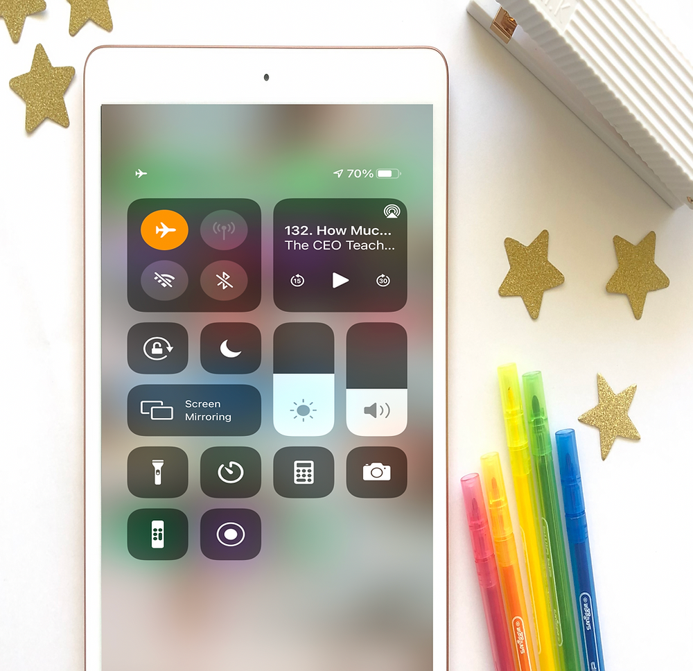 Phone of airplane mode with coloured textas and stars