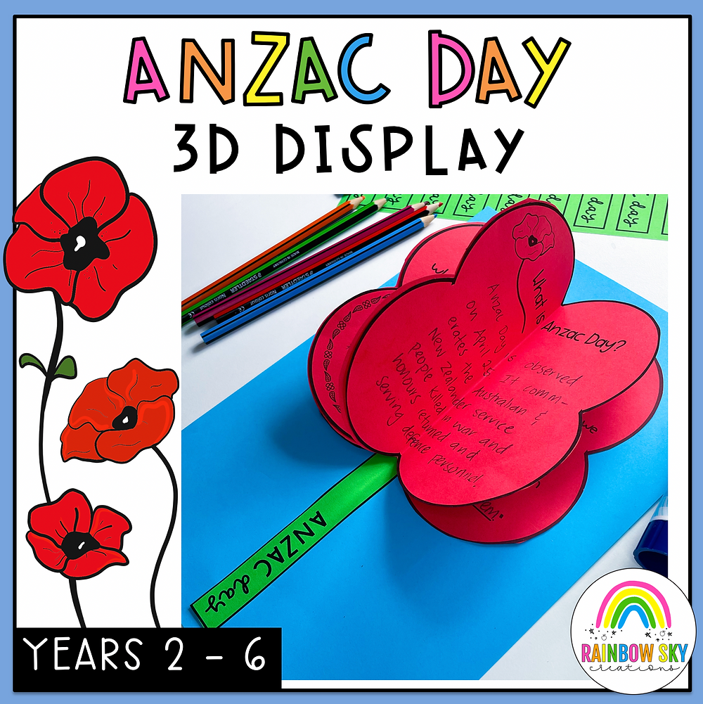 ANZAC Day 3D poppy TpT cover page