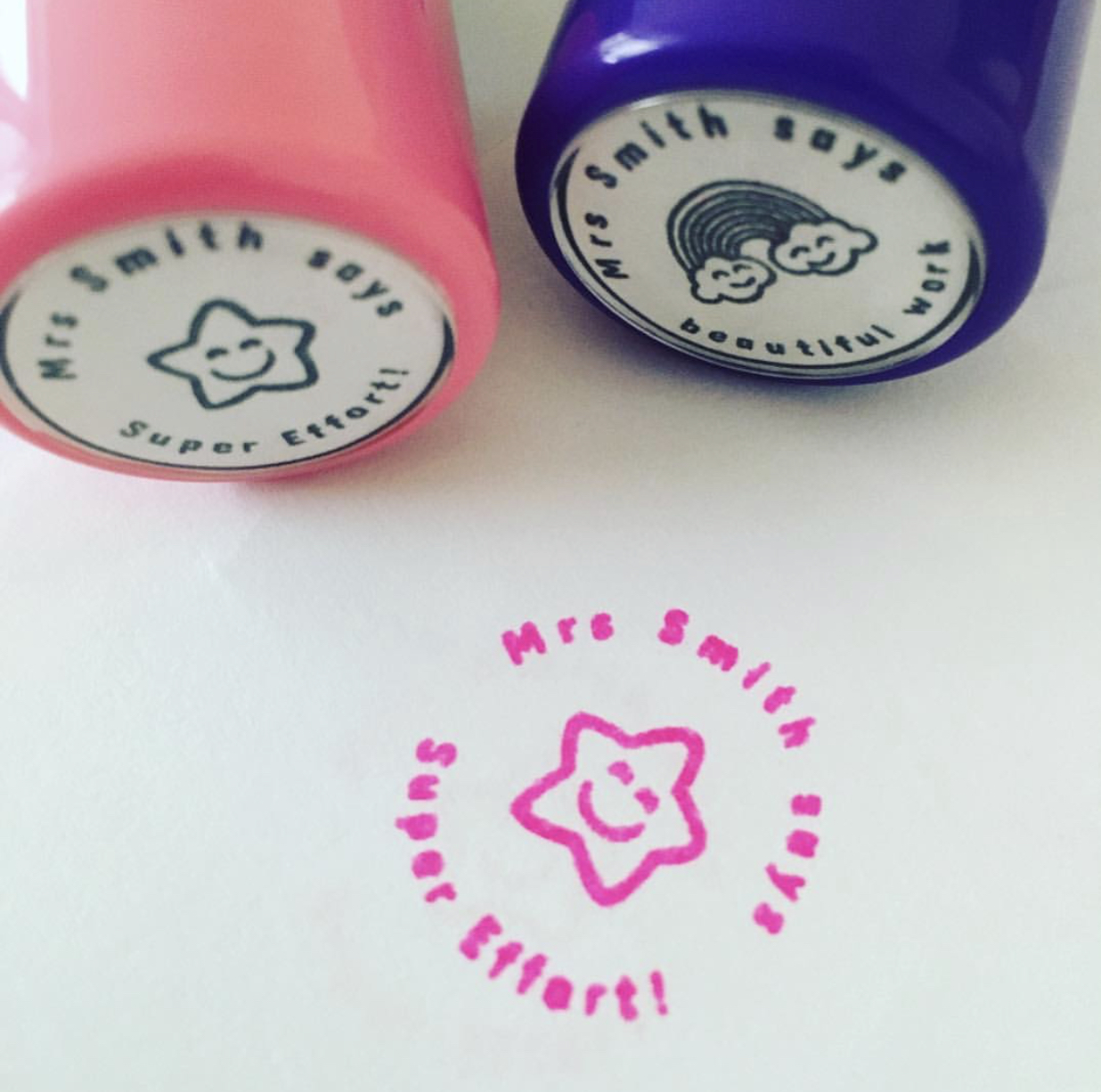 Personalised stamps from @misshoneyteachers