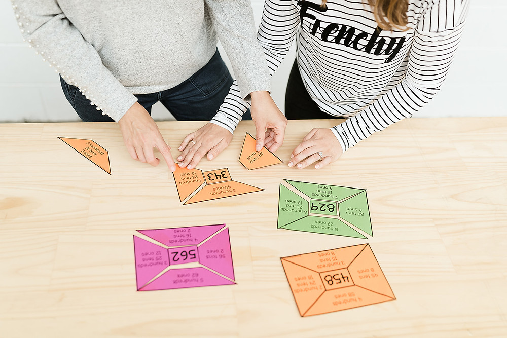 Number puzzles on coloured paper