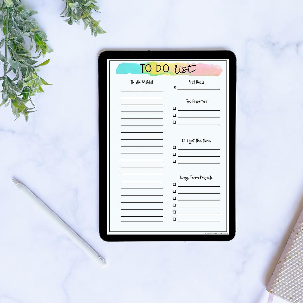 iPad with Rainbow Sky to list template