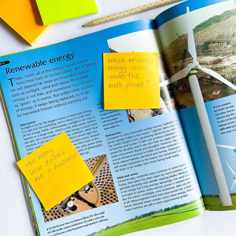 Non-fiction text with questioning sticky notes