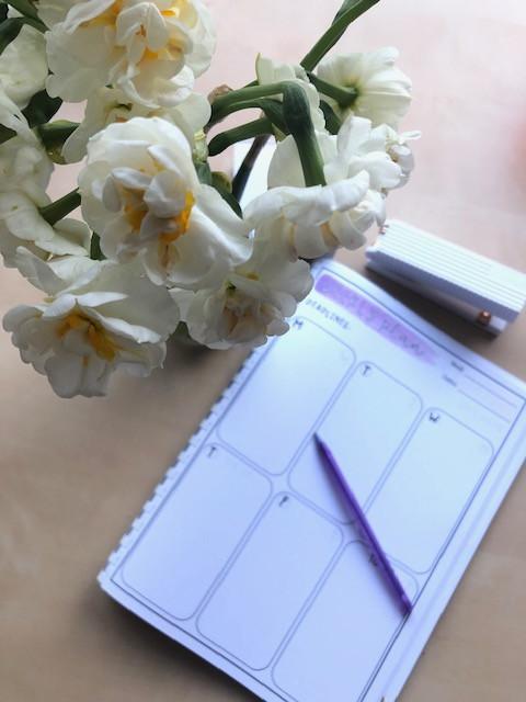 Teacher planner with fresh flowers