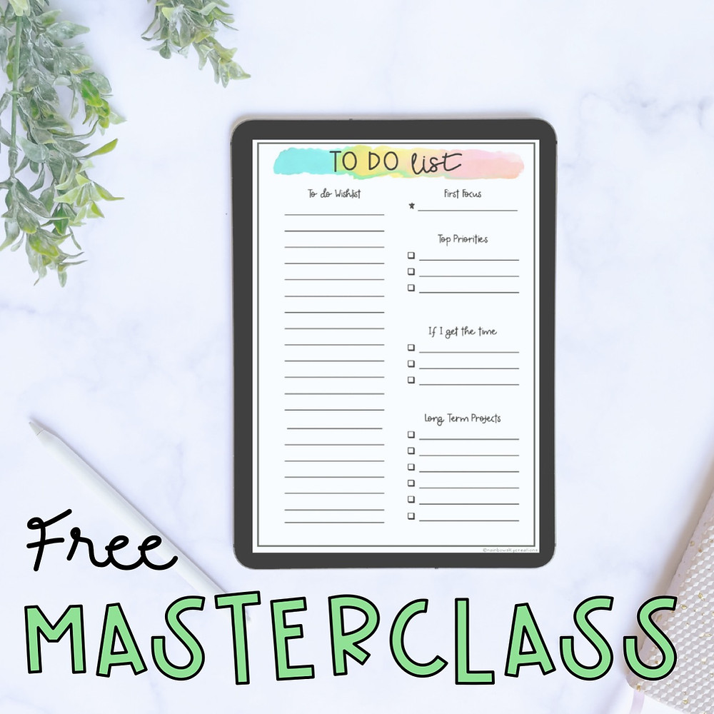 Free masterclass image with to do list in iPad