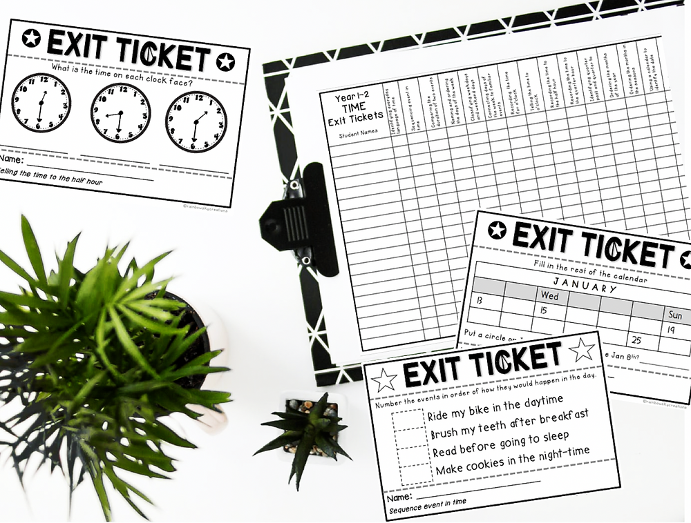 Time exit tickets Grade 2