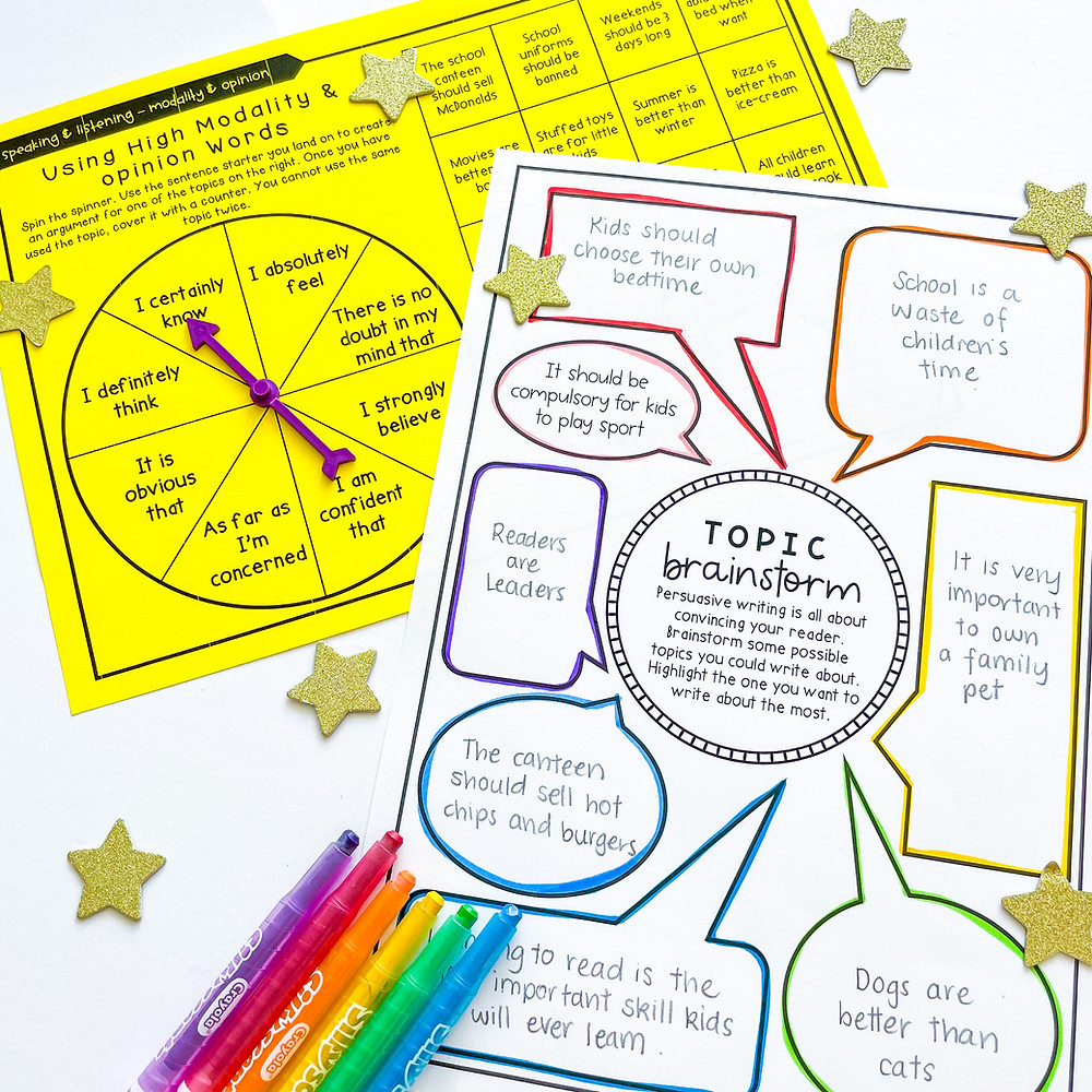 Opinion words spinner game and persuasive writing topic brainstorm page