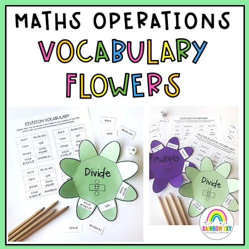 Math Operations Vocabulary Flowers