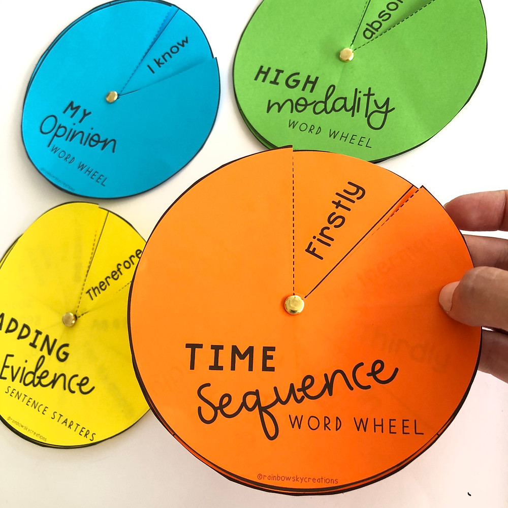 Time sequence, high modality, opinion and evidence word wheels