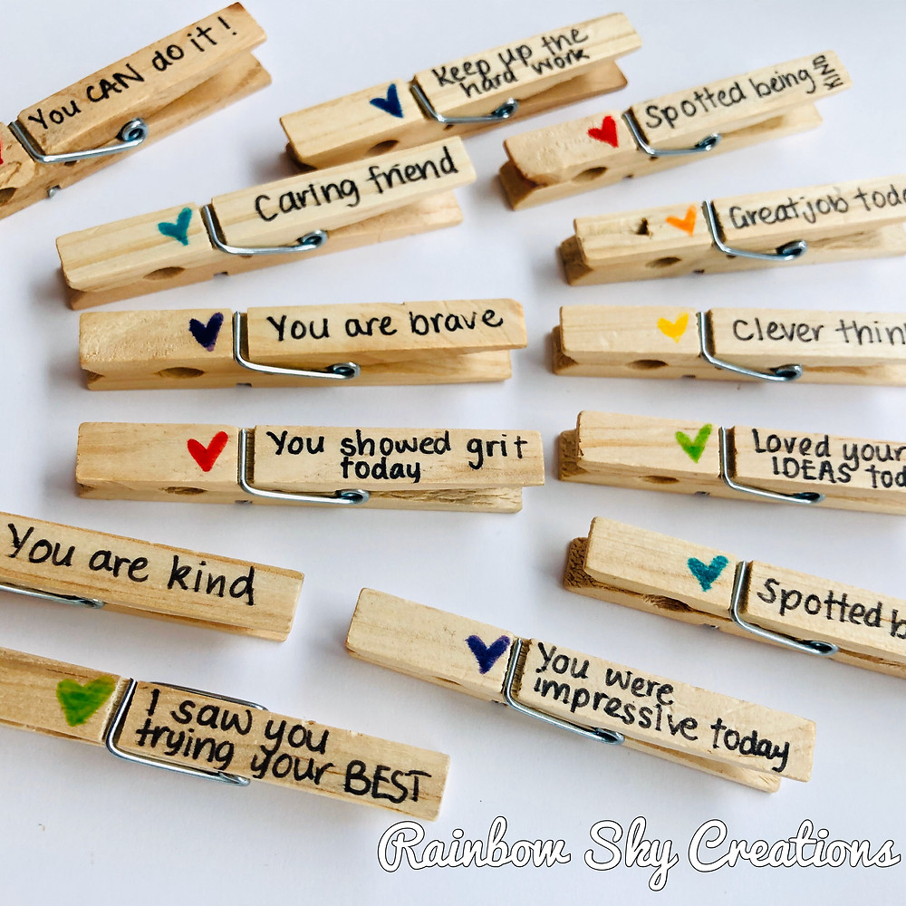 Wooden pegs with positive messages for kids