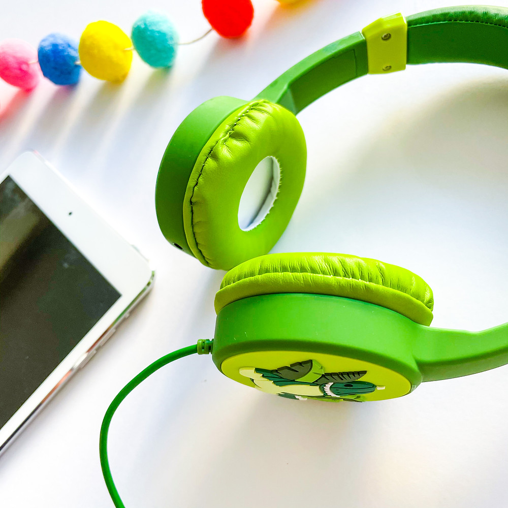Green headphones with iPad and bunting