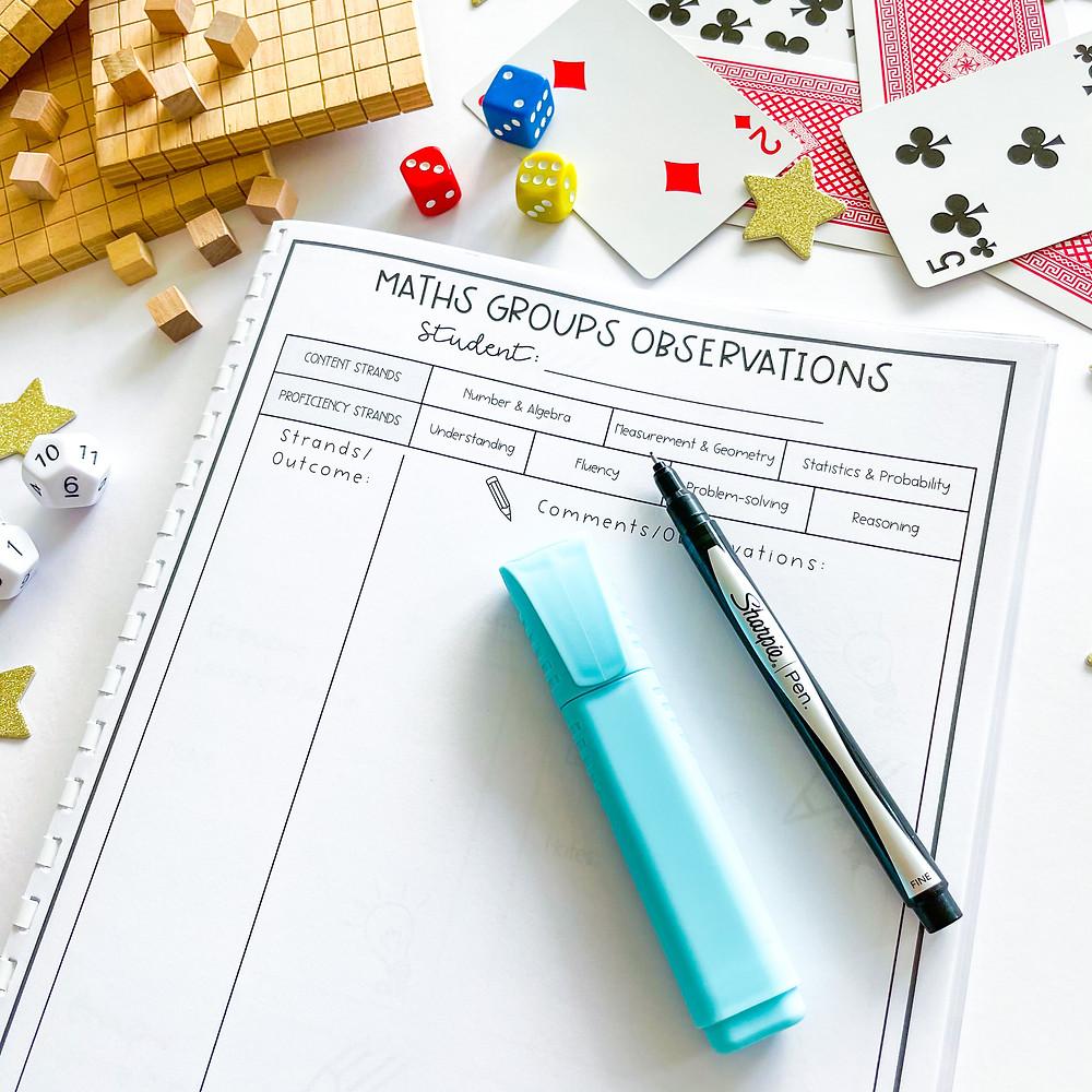 Student observation sheet for Math Groups