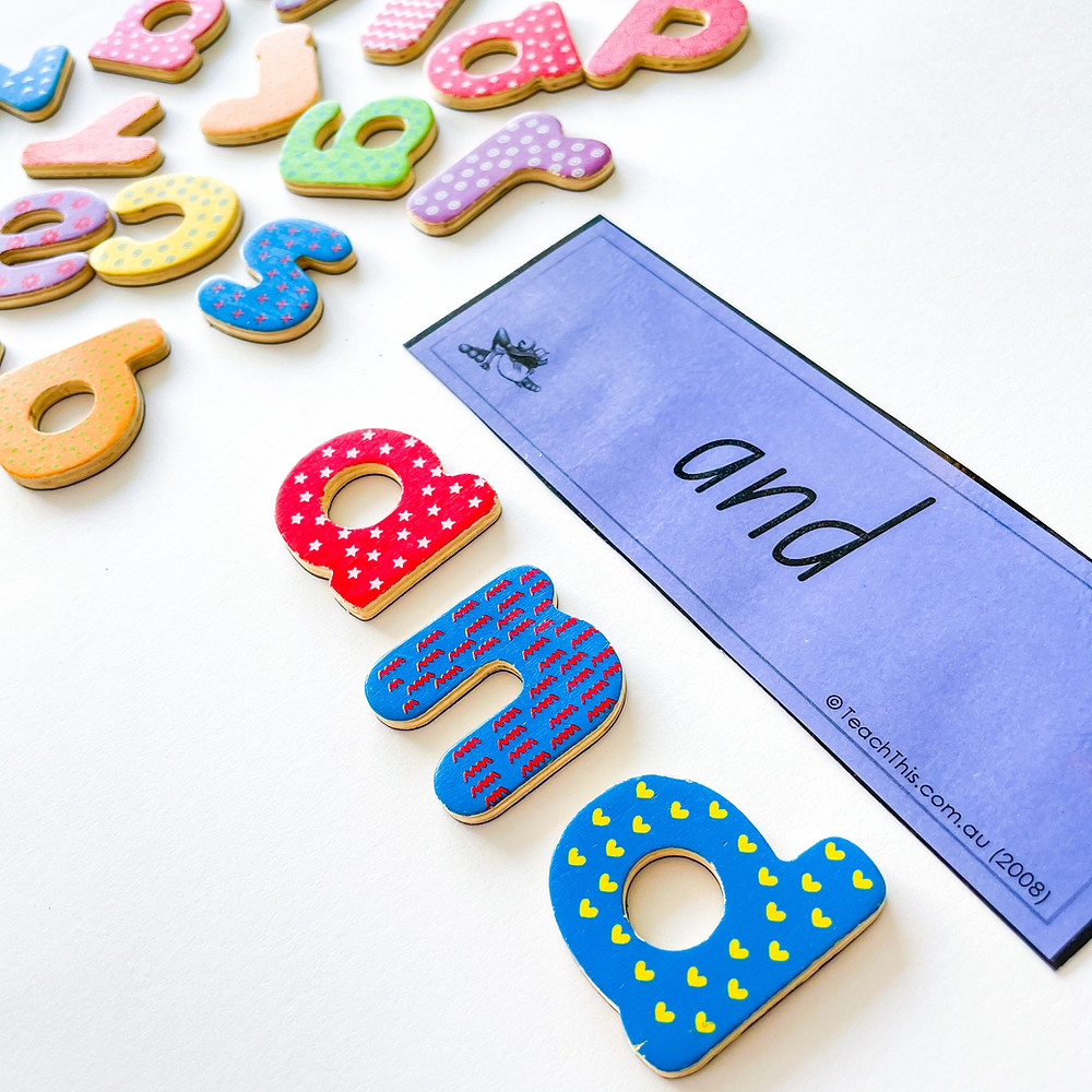 Magnetic letters spelling the word and
