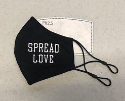 Black & White Spread Love Adjustable Mask