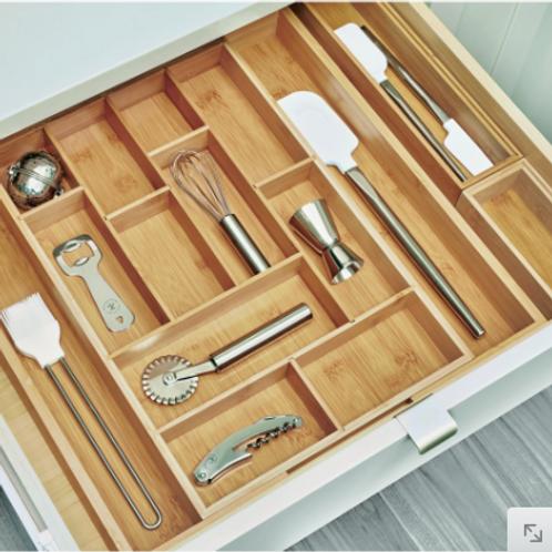 Bamboo Customizable Cutlery Tray