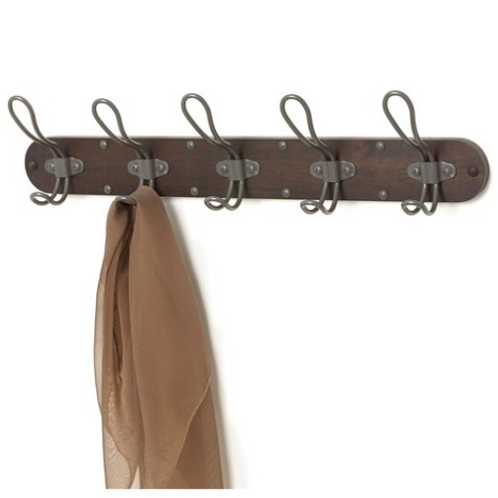 Wall Mount 5 Hook Wood Rack